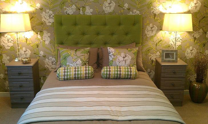 yatak odası, Yatak yan lamba, lüks, dekor, iç, Oda, Stil