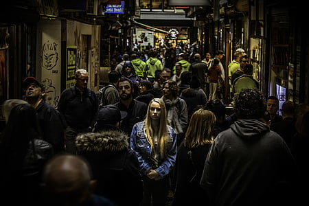 crowd, crowded, people, stores, stress, woman, urban Scene