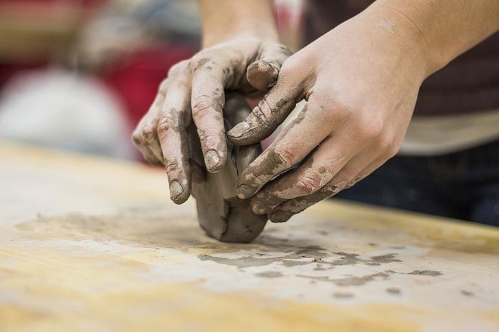 gliny, ręce, rzeźbienie, sztuka, ludzką ręką, Dokonywanie, ciasto