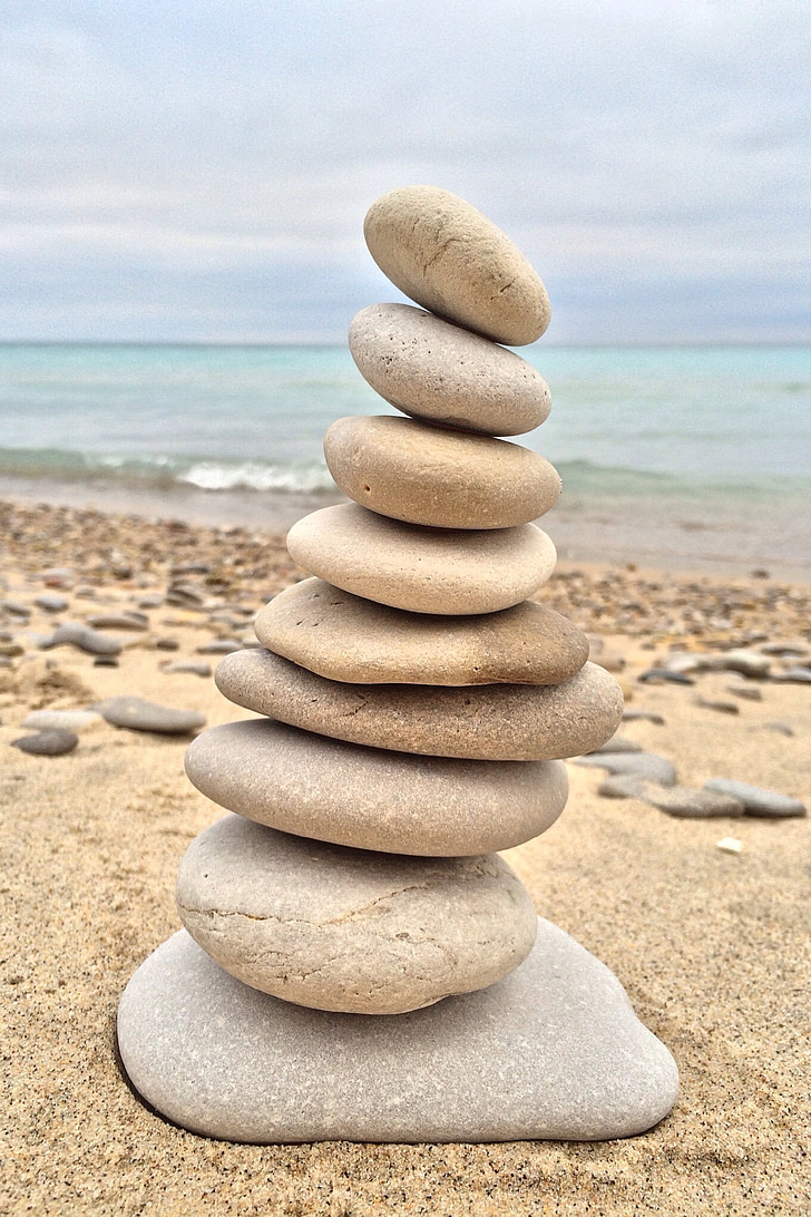 stacking, stones, rock, balance, relaxation, harmony, relax