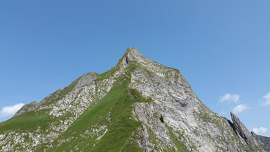 Höfats, Allgäu, Grasberg, strome trawy, Alpy Algawskie, alpejska, krajobraz