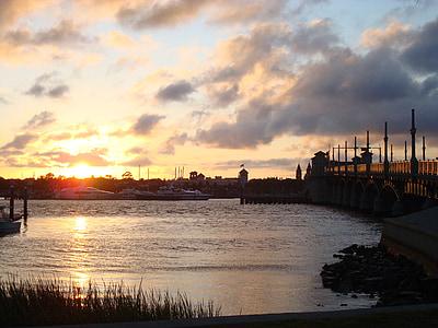 ηλιοβασίλεμα, γέφυρα, Λίμνη, ουρανός, τοπίο, νερό, abendstimmung