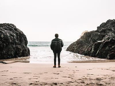 man, guy, back, rock, formation, sea, ocean