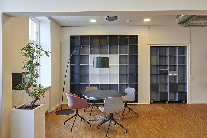 architecture, book shelves, bookcase, chairs, contemporary, indoors, interior design