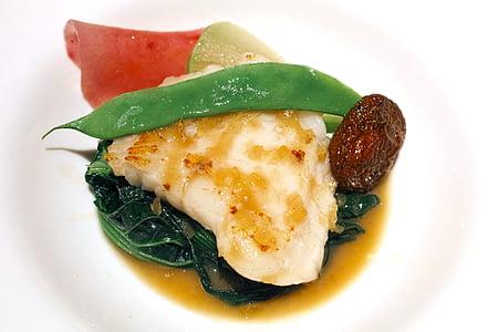 Restaurant, francès, cuina francesa, cuina, aliments, plats de peix, soja