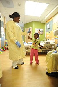 Hospital, infermera, pacient, nen, noia, sala, tractament