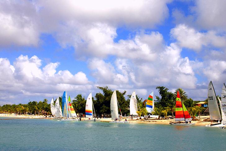 segelbåtar, båtar, havet, vatten, Sky, segelbåt