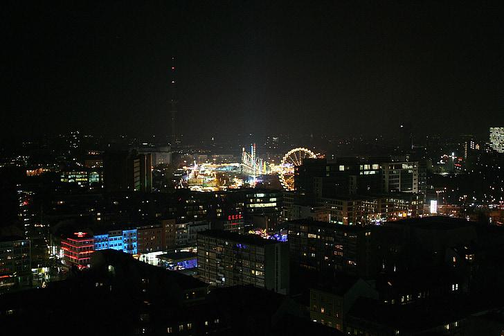 dom, hamburger dom, Ruské koleso, Festival stránok, veľtrh, Hamburg, noc