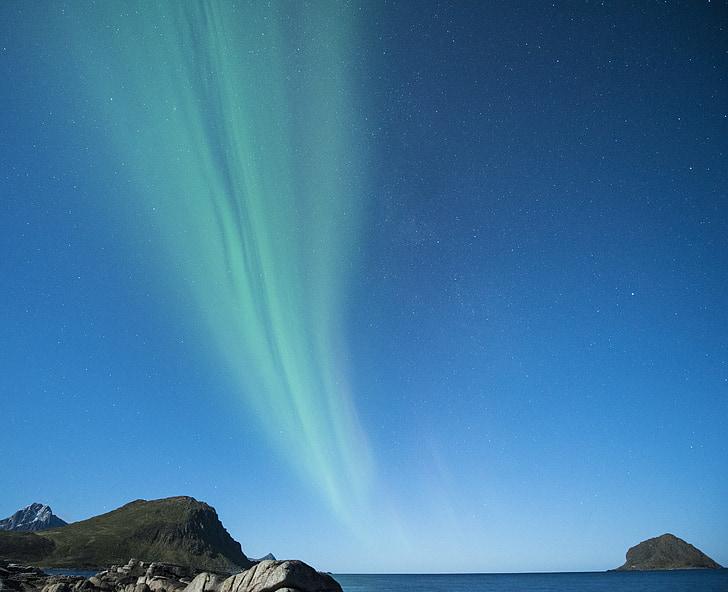 aurora borealis, Lofoten, Norge, nat, Beach, Costa, vinter