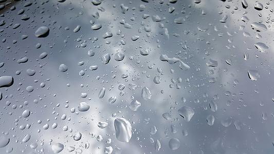 water, wet, droplets, beading, rain, raining, water trail