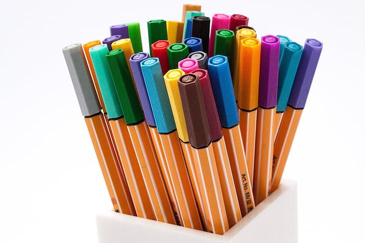 art materials, colored pens, colorful, coloring pens, colors, colourful, pens