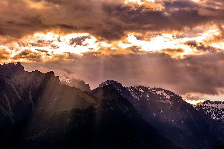muntanyes, pics, paisatge, cel, núvols, llum del sol, Sunbeam