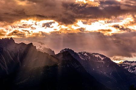 hory, horské vrcholy, Príroda, Sky, oblaky, Slnečné svetlo, Sunbeam