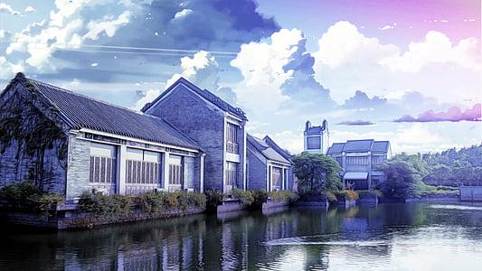 l'habitatge, fantasia, bonica, vent de Xina, Makoto shinkai