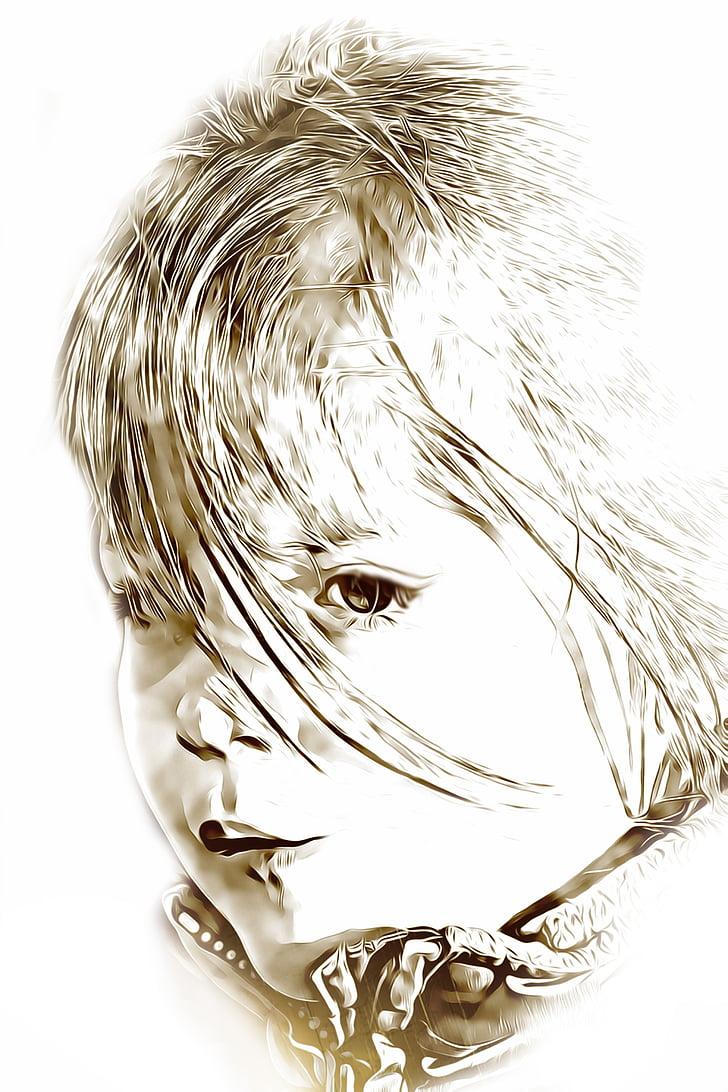 digitálne, grafika, dievča, tváre, dievčatko, vlasy, hodinky