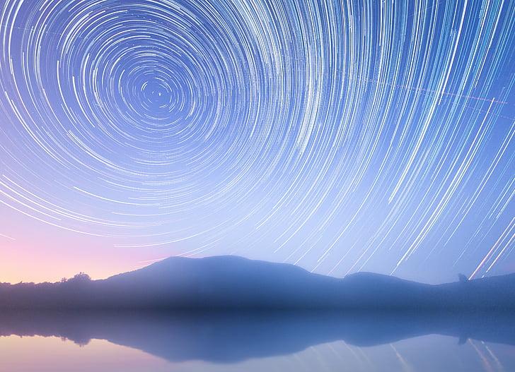 star stier, Star, rotasjonen av jorden, rotasjon, nattehimmelen, himmelen, startrails