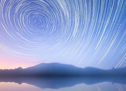 senders d'estrelles, estrella, rotació de la terra, rotació, cel de nit, cel, rastres d'estrelles