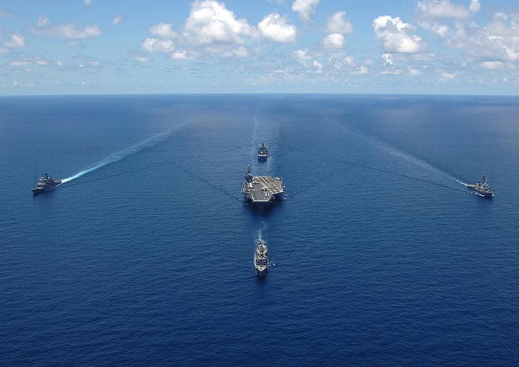 u s marinen, Slagskip, marinen, himmelen, hav, sjøen, skyer