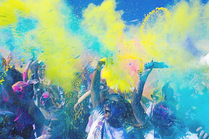 хора, тълпата, цвят, партия, забавно, играта, цветни
