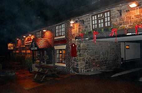 pub, Bar, malam, Umum rumah, musim dingin, kabut, kabut