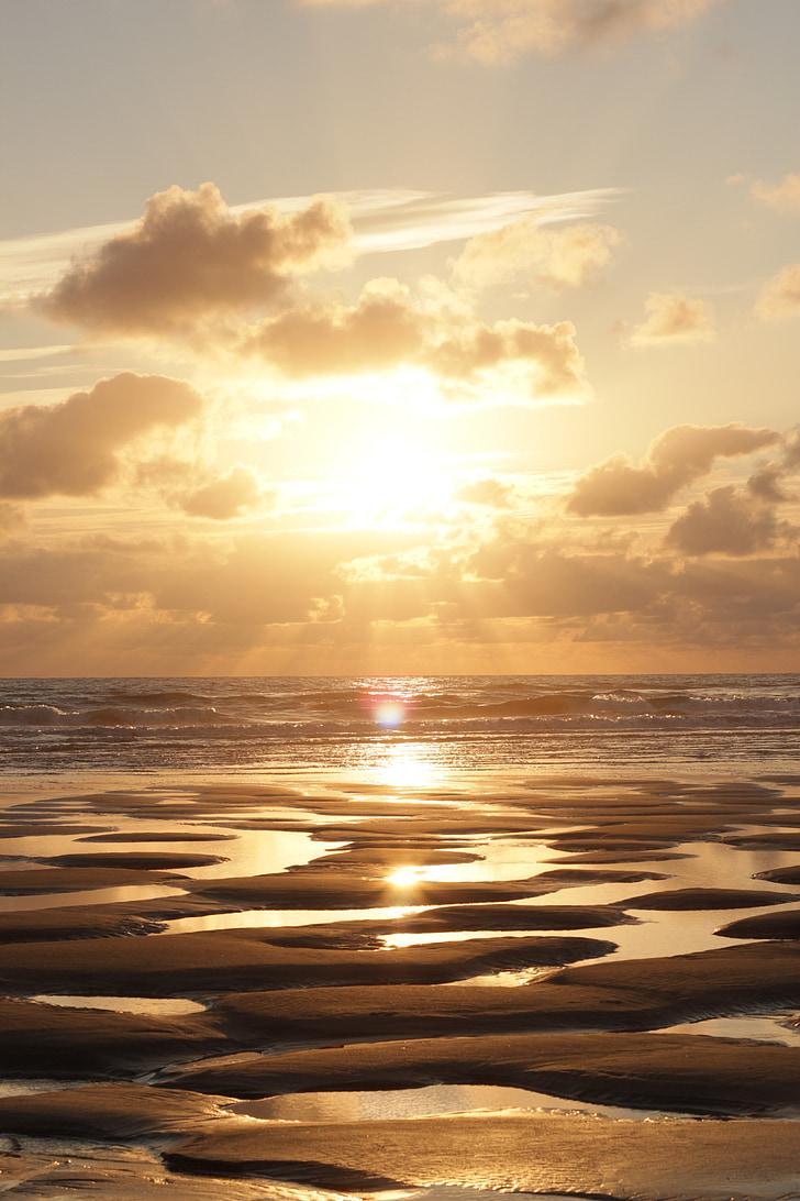 solnedgång, solen, stranden, havet, nedgående solen, varumärke, färgsprakande solnedgång