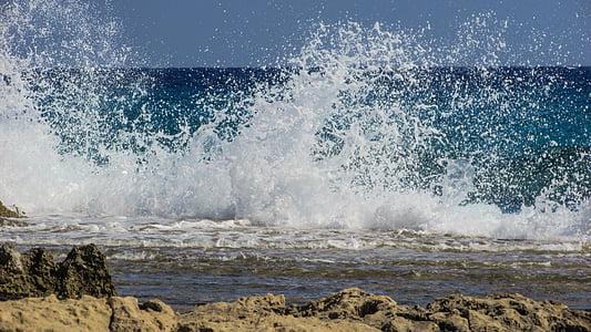 ona, trencant, esprai, escuma, Mar, platja, natura
