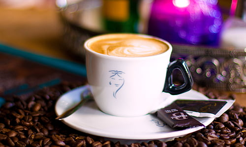 kacang, kafe, kantin, cappuccino, kopi, Piala, minuman