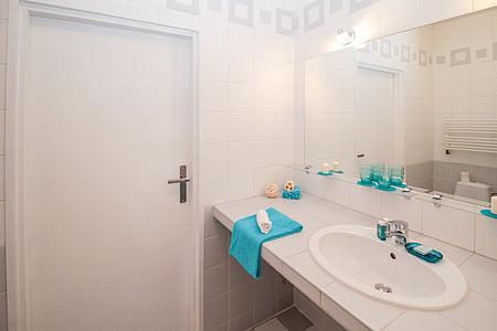 salle de bain, évier, miroir, Appartement, chambre, maison, intérieur résidentiel