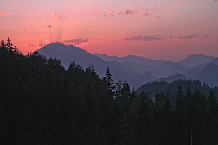 pôr do sol, Alpina, arrebol, iluminação, abendstimmung, céu da noite, Áustria