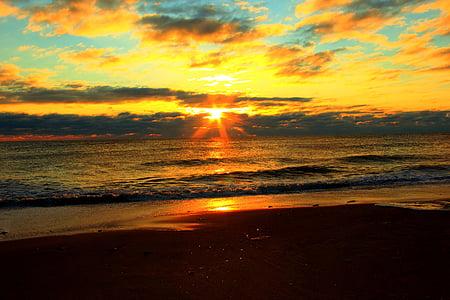 Alba, platja, sol, oceà, Mar, posta de sol, l'aigua