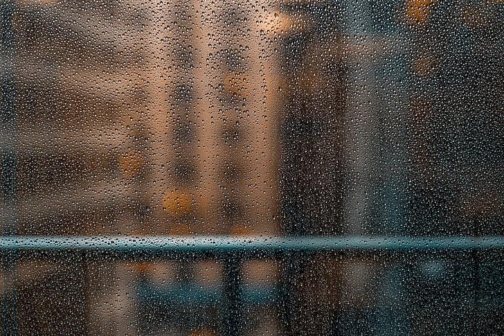våte, glass, regn, vann, DROPS, bakgrunner, abstrakt