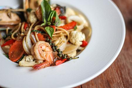 Espaguetis, borratxos, línia, aliments, pastes, cuina italiana, marisc