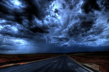 naktį, debesys, sunkvežimis, tamsoje, šviesos, dangus, Saulėlydis