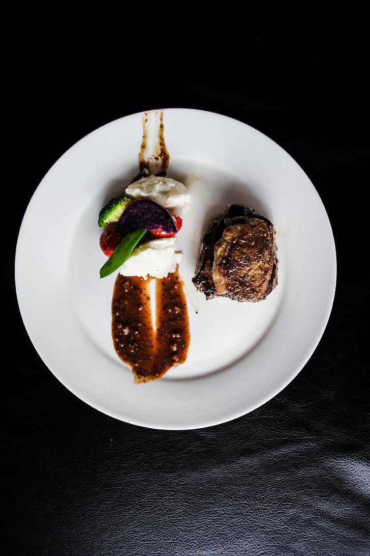 steiks, foie gras, melnie pipari, plate, pārtikas produkti un dzērieni, pārtika, studijas pameta