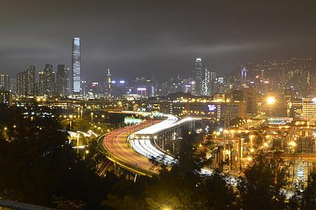 Hong kong, nit, tren lleuger, ciutat, paisatge urbà, Kong, Hong