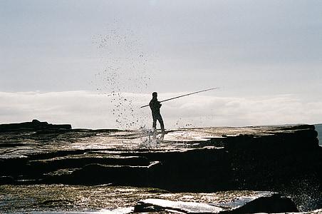 fisherman, fishing, fishing rod, coast
