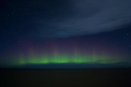 llums del nord, cel, nit, Aurora, verd, l'astronomia, ambient