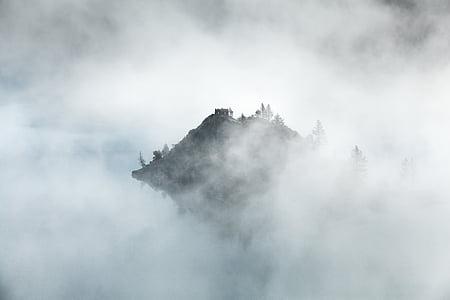 núvols, boira, boira, muntanya, cim de la muntanya, natura, a l'exterior