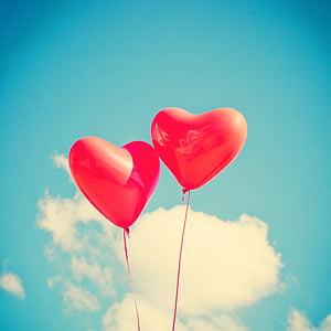 globus, cor, l'amor, vermell, romàntic, feliç, targeta