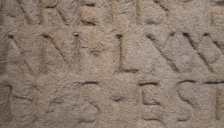Latino, pedra, làpida, pedres de granit, granit, roques, escultura en pedra