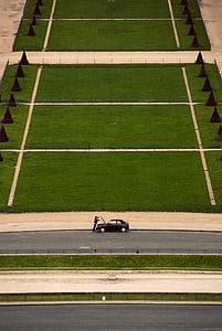 home, obertura, cotxe, caputxa, a prop, verd, herba