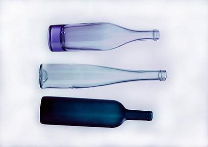 vidre, una ampolla de, composició, estudi, fons, colors, ampolles