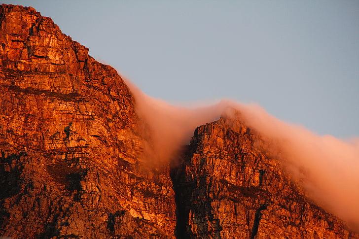 montanha da mesa, cidade do cabo, África do Sul, céu, na montanha da mesa, nuvens, natureza