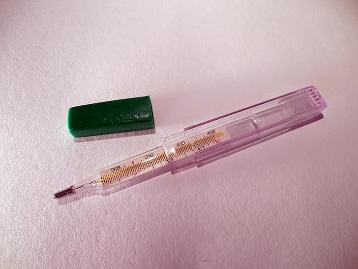 thermometer, koorts, medische, temperatuur, Groeten, besmettelijke, symptomen