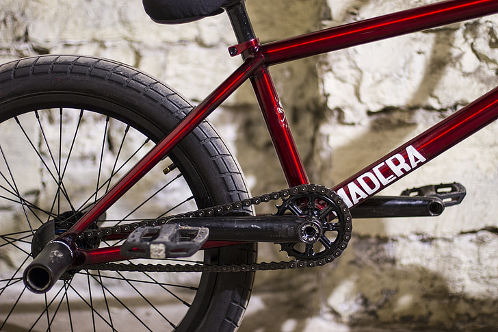 velosipēds, sprocket, Motociklu detaļas, BMX, sarkana, riepa, zvejas rīku