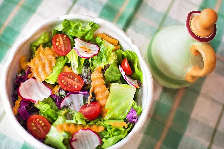 salát, čerstvé, vegetariáni, zelenina, zdravé, strava, jídlo