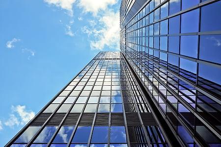 arhitektuur, pilvelõhkuja, Klaasfassaadid, kaasaegne, fassaad, taevas, hoone