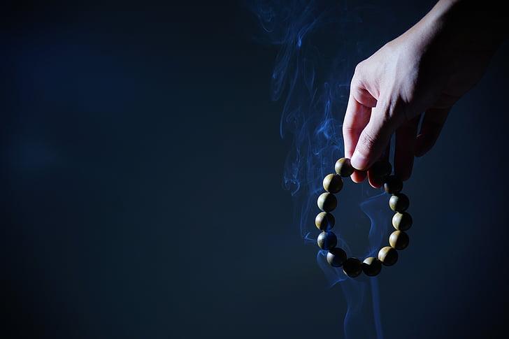 hand, Boeddhistisch gebedssnoer, rook, Zen, rozenkrans kralen, ketting