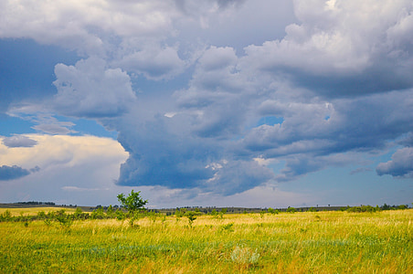 sky, clouds, blue, nature, prairie, summer, weather