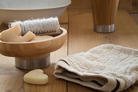 dolent, rentat, sabó, raspall, drap, cura del cos, higiene